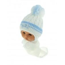 Czapeczka zimowa niemowlęca 42-46 biała z niebieskim